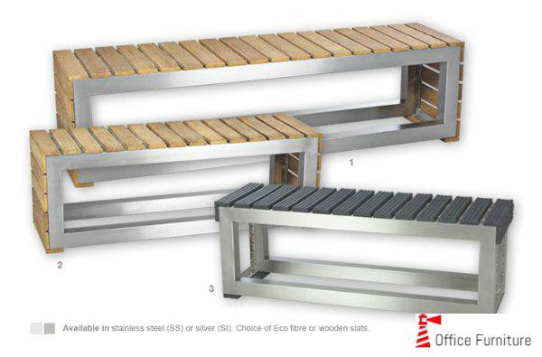 Office Benches stainless steel and Wooden Slats