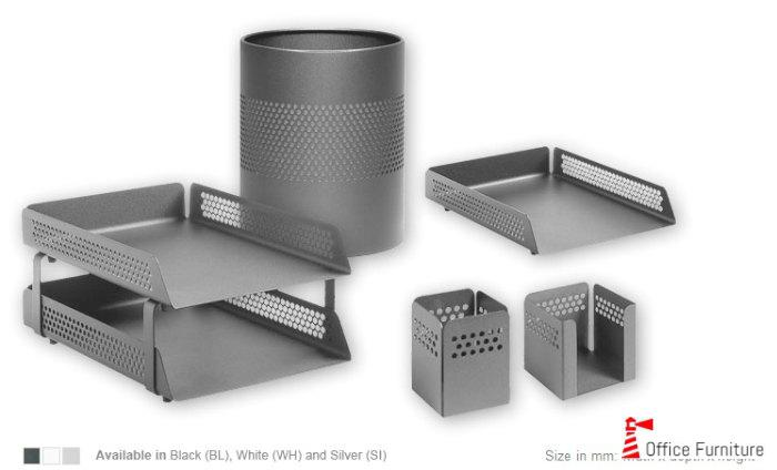 Desk Set Accessories Black Perforated