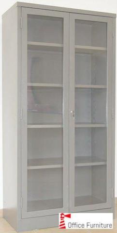 1800 Hinged Door Glass Bookcase