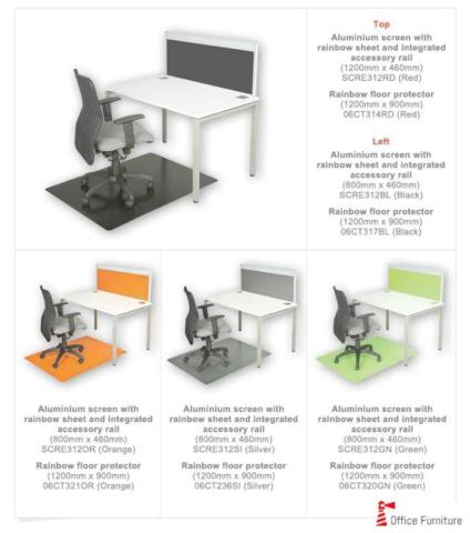 Custom made Desk Screen Aluminium Rainbow Sheet
